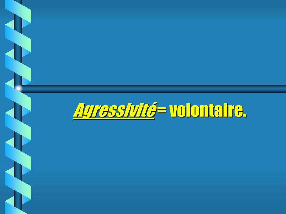 Agressivité Agressivité = volontaire.