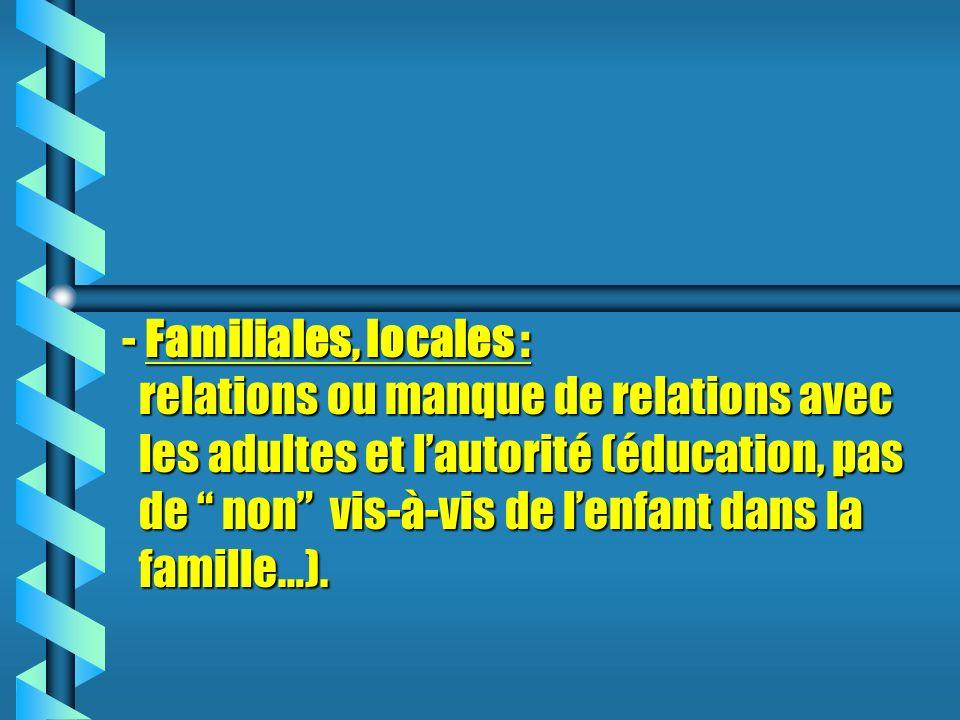 - Familiales, locales : relations ou manque de relations avec les adultes et lautorité (éducation, pas de non vis-à-vis de lenfant dans la famille…).