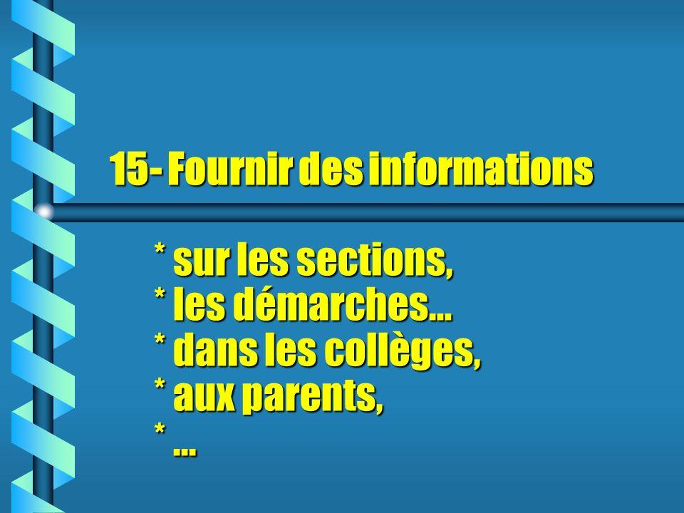 15- 15- Fournir des informations * sur les sections, * les démarches… * dans les collèges, * aux parents, *...