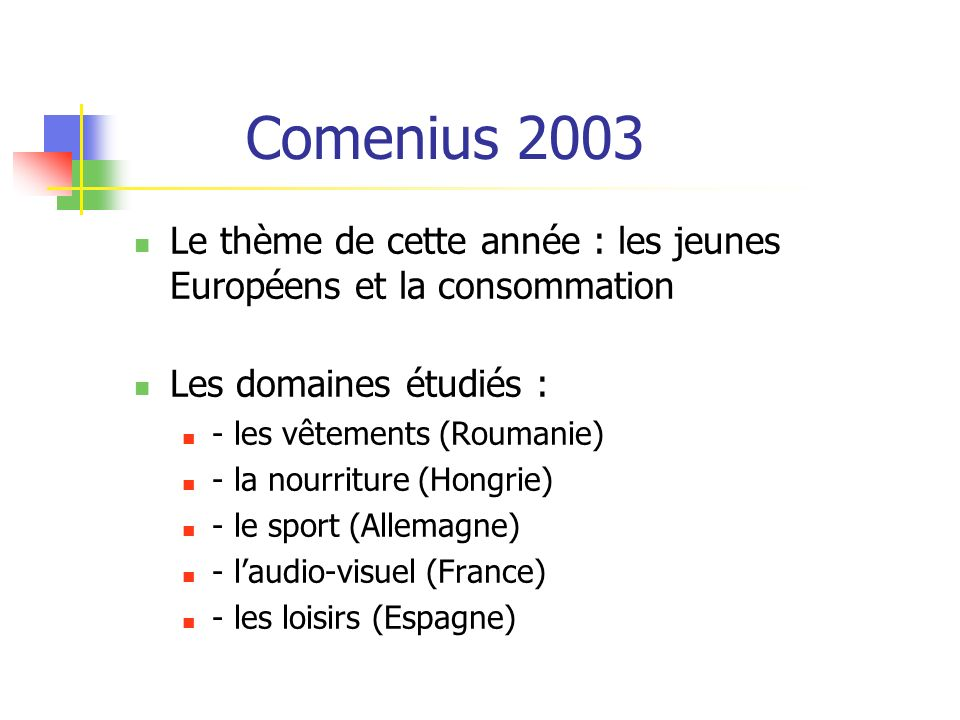 Comenius 2003 Le thème de cette année : les jeunes Européens et la consommation Les domaines étudiés : - les vêtements (Roumanie) - la nourriture (Hongrie) - le sport (Allemagne) - laudio-visuel (France) - les loisirs (Espagne)