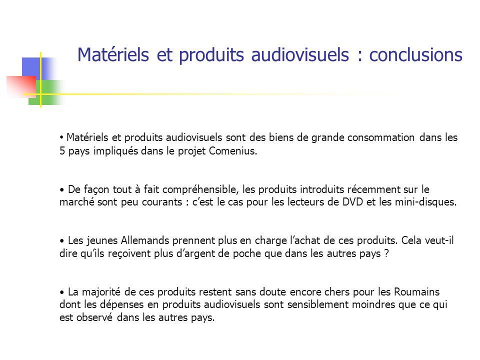 Matériels et produits audiovisuels sont des biens de grande consommation dans les 5 pays impliqués dans le projet Comenius. De façon tout à fait compr