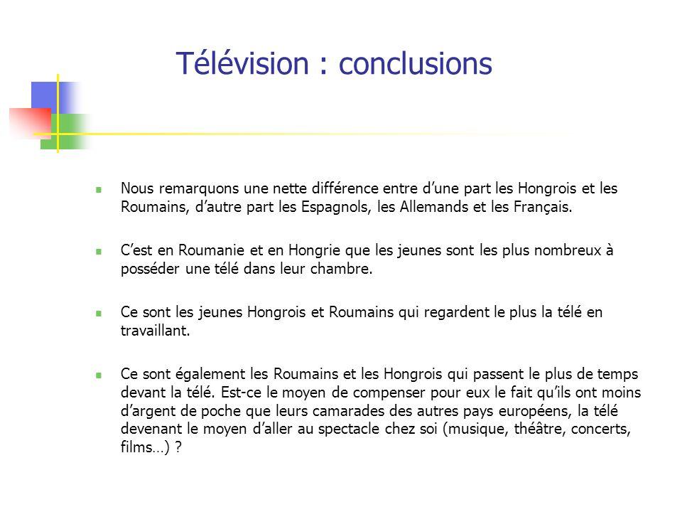 Télévision : conclusions Nous remarquons une nette différence entre dune part les Hongrois et les Roumains, dautre part les Espagnols, les Allemands e