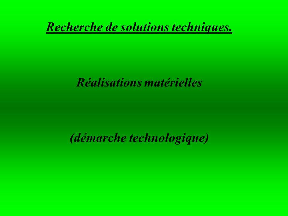 Recherche de solutions techniques. Réalisations matérielles (démarche technologique)
