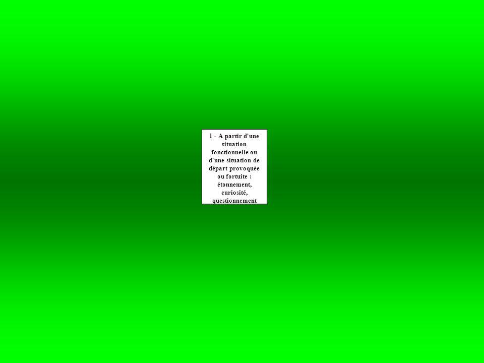1 - A partir d une situation fonctionnelle ou d une situation de départ provoquée ou fortuite : étonnement, curiosité, questionnement 2-Recueil des représentations à l écrit / à l oral (avec des précautions particulières) questionnement des élèves Le maître analyse ces représentations et les classe.