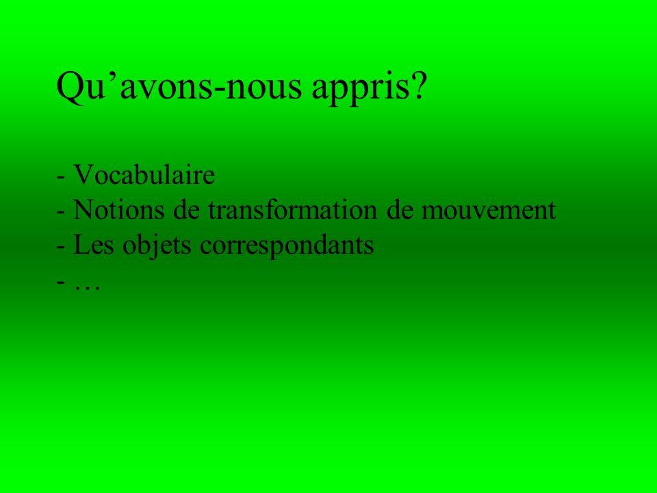 Quavons-nous appris? - Vocabulaire - Notions de transformation de mouvement - Les objets correspondants - …