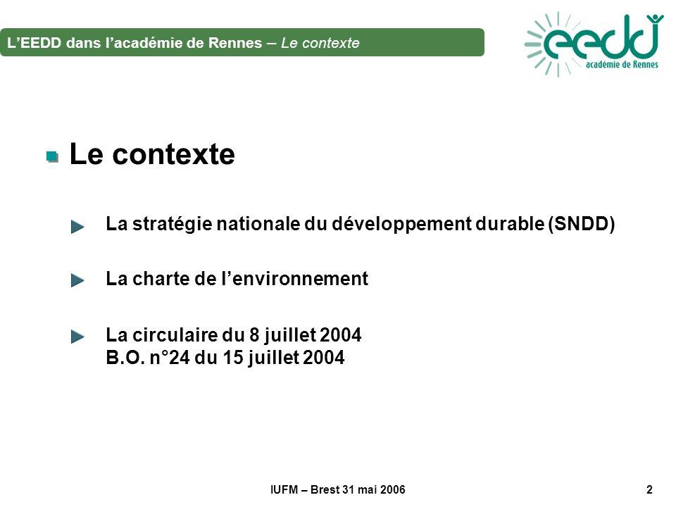 IUFM – Brest 31 mai 20062 Le contexte La stratégie nationale du développement durable (SNDD) La charte de lenvironnement La circulaire du 8 juillet 2004 B.O.