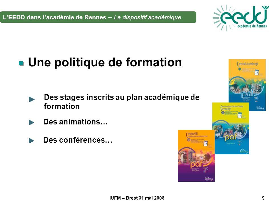 IUFM – Brest 31 mai 20069 Une politique de formation Des stages inscrits au plan académique de formation Des animations… LEEDD dans lacadémie de Rennes – Le dispositif académique Des conférences…