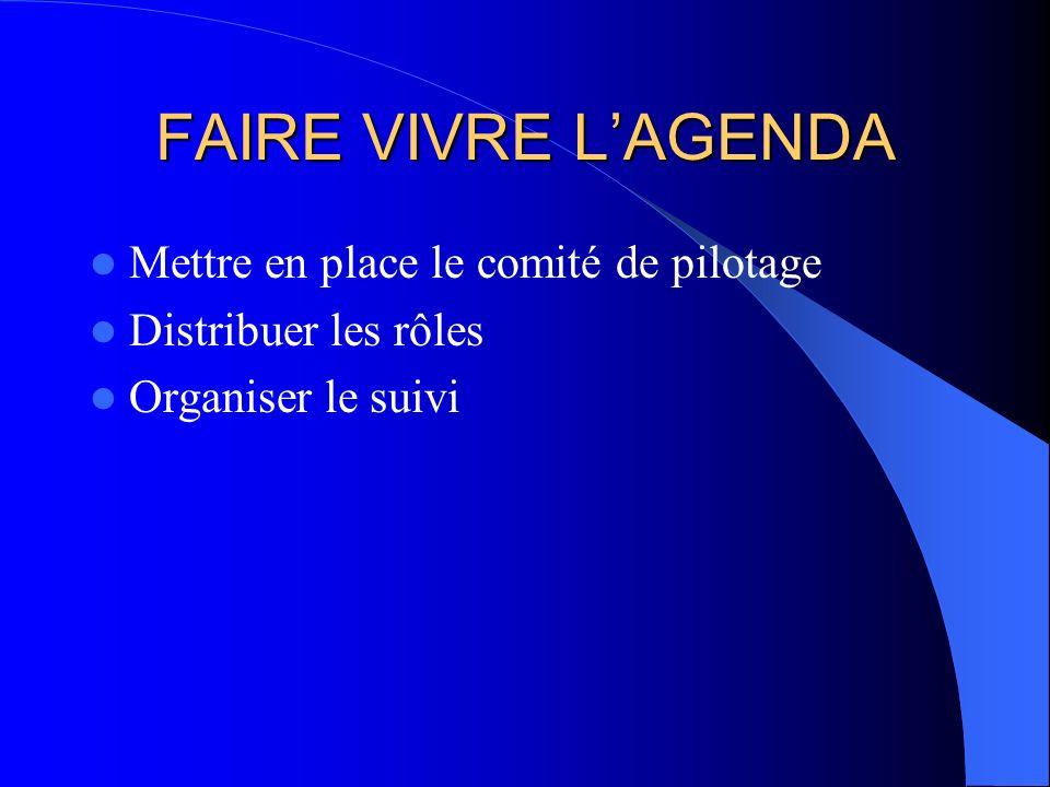 FAIRE VIVRE LAGENDA Mettre en place le comité de pilotage Distribuer les rôles Organiser le suivi