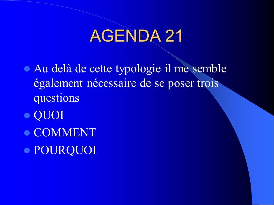 AGENDA 21 Au delà de cette typologie il me semble également nécessaire de se poser trois questions QUOI COMMENT POURQUOI