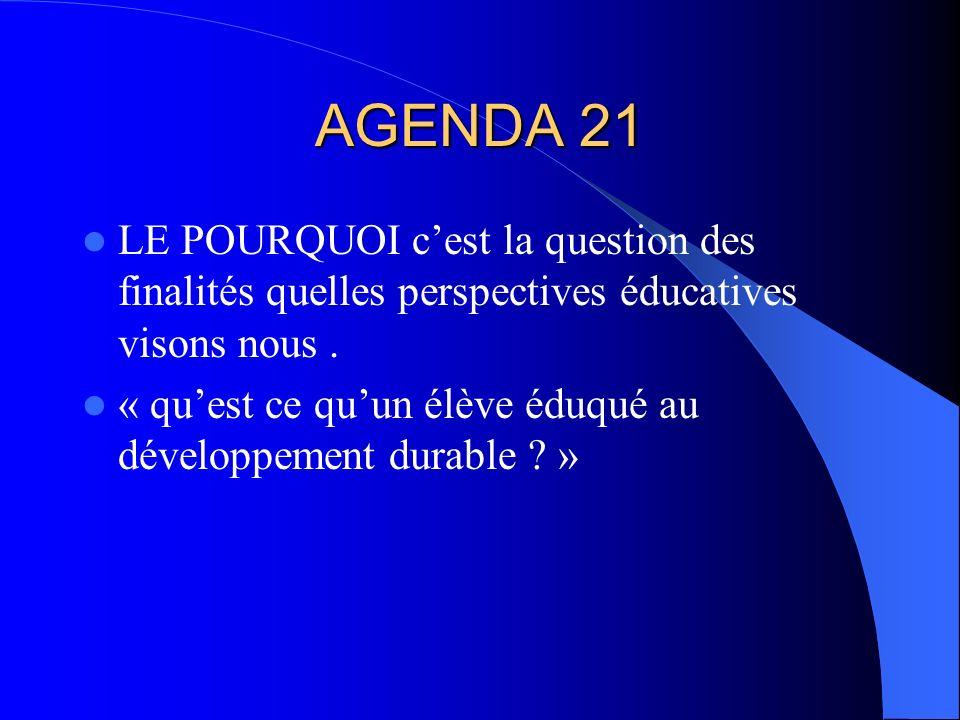 AGENDA 21 LE POURQUOI cest la question des finalités quelles perspectives éducatives visons nous.