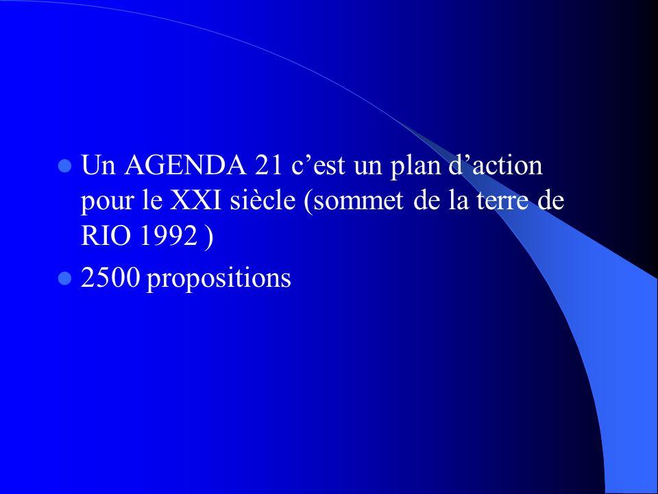 Un AGENDA 21 cest un plan daction pour le XXI siècle (sommet de la terre de RIO 1992 ) 2500 propositions