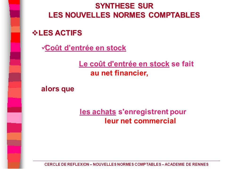 CERCLE DE REFLEXION – NOUVELLES NORMES COMPTABLES – ACADEMIE DE RENNES Coût dentrée en stock les achats s'enregistrent pour leur net commercial Le coû