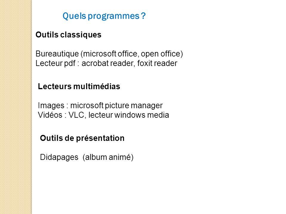 Quels programmes ? Outils classiques Bureautique (microsoft office, open office) Lecteur pdf : acrobat reader, foxit reader Lecteurs multimédias Image