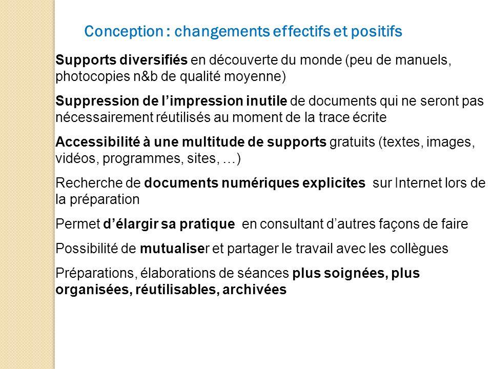 Conception : changements effectifs et positifs Supports diversifiés en découverte du monde (peu de manuels, photocopies n&b de qualité moyenne) Suppre