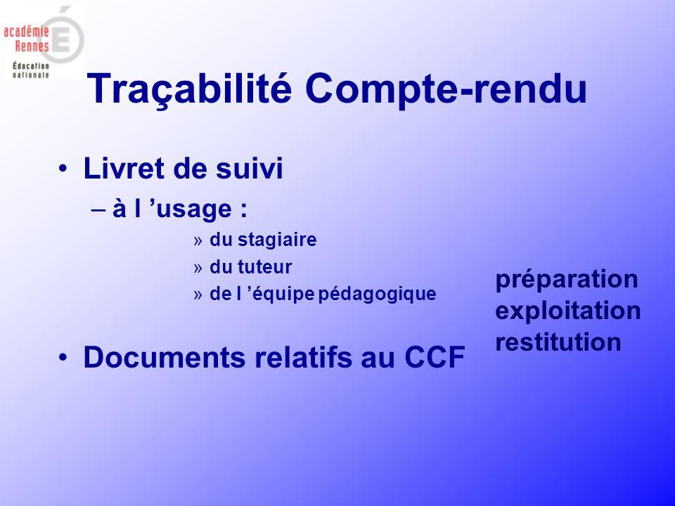 Traçabilité Compte-rendu Livret de suivi –à l usage : »du stagiaire »du tuteur »de l équipe pédagogique Documents relatifs au CCF préparation exploita