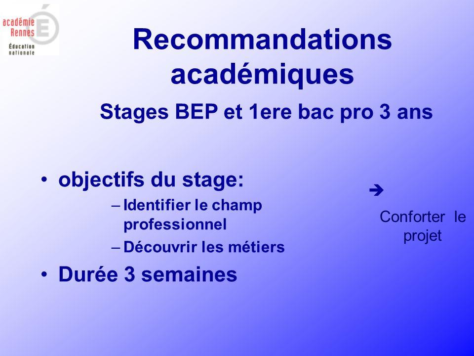 Recommandations académiques Stages BEP et 1ere bac pro 3 ans objectifs du stage: –Identifier le champ professionnel –Découvrir les métiers Durée 3 sem