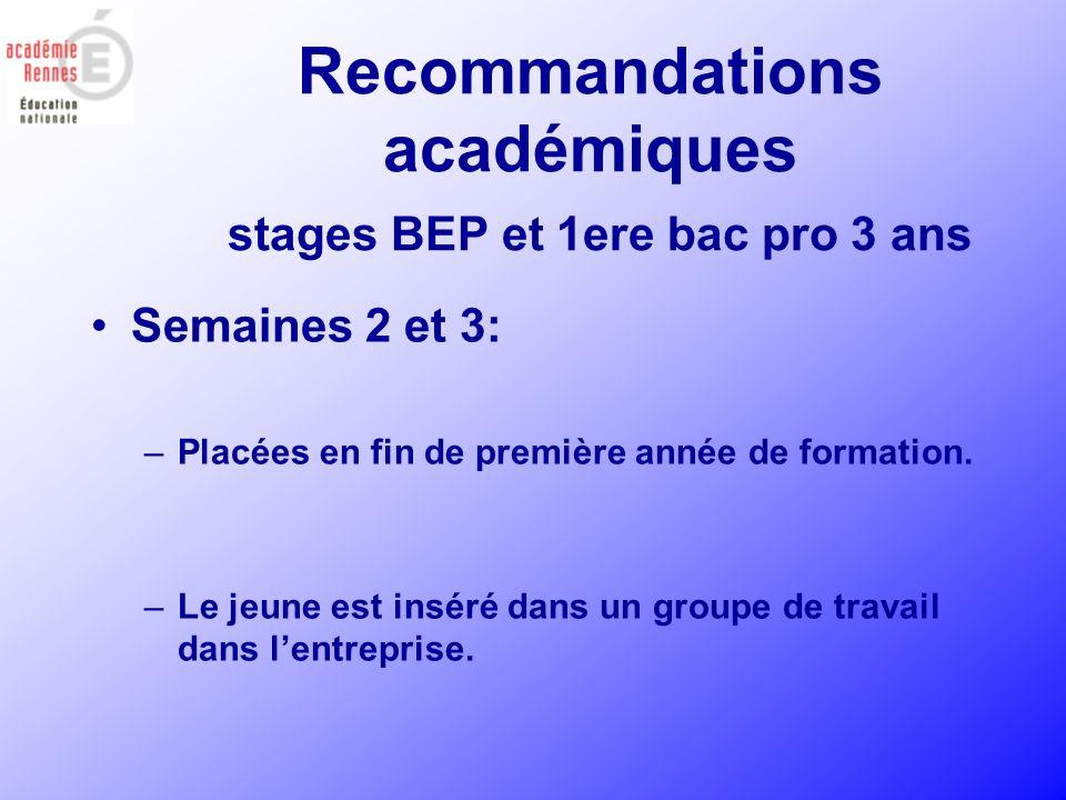 Recommandations académiques stages BEP et 1ere bac pro 3 ans Semaines 2 et 3: –Placées en fin de première année de formation. –Le jeune est inséré dan