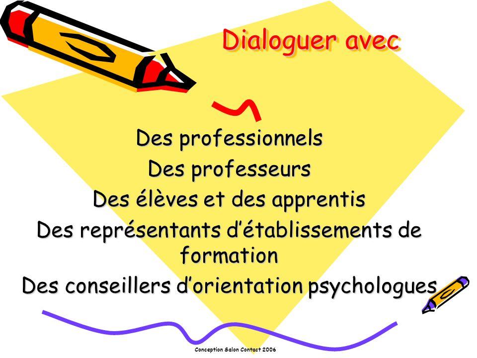 Conception Salon Contact 2006 Dialoguer avec Des professionnels Des professeurs Des élèves et des apprentis Des représentants détablissements de formation Des conseillers dorientation psychologues