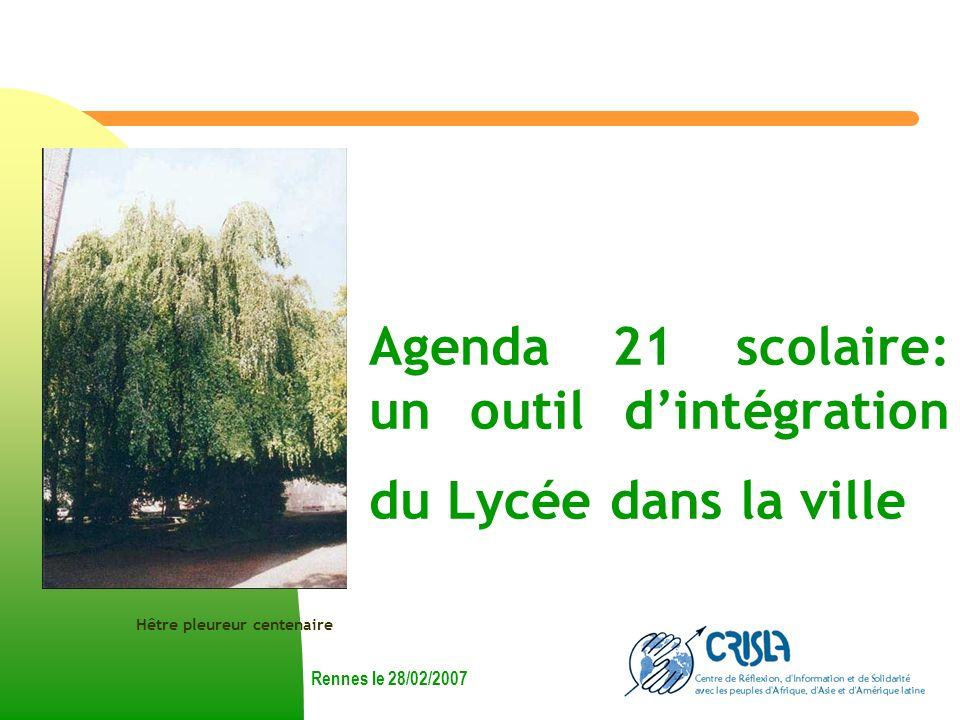Agenda 21 scolaire: un outil dintégration du Lycée dans la ville Rennes le 28/02/2007 Hêtre pleureur centenaire
