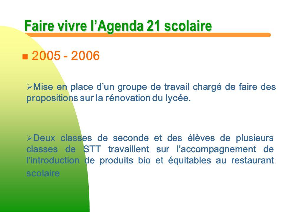 Faire vivre lAgenda 21 scolaire Mise en place dun groupe de travail chargé de faire des propositions sur la rénovation du lycée. n n 2005 - 2006 Deux