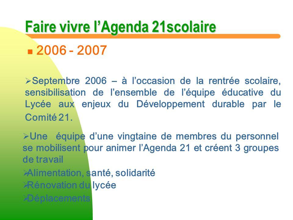 Faire vivre lAgenda 21scolaire n n 2006 - 2007 Septembre 2006 – à loccasion de la rentrée scolaire, sensibilisation de lensemble de léquipe éducative