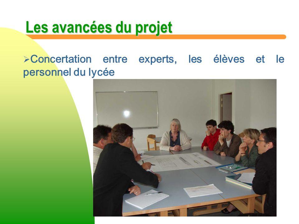 Les avancées du projet Concertation entre experts, les élèves et le personnel du lycée