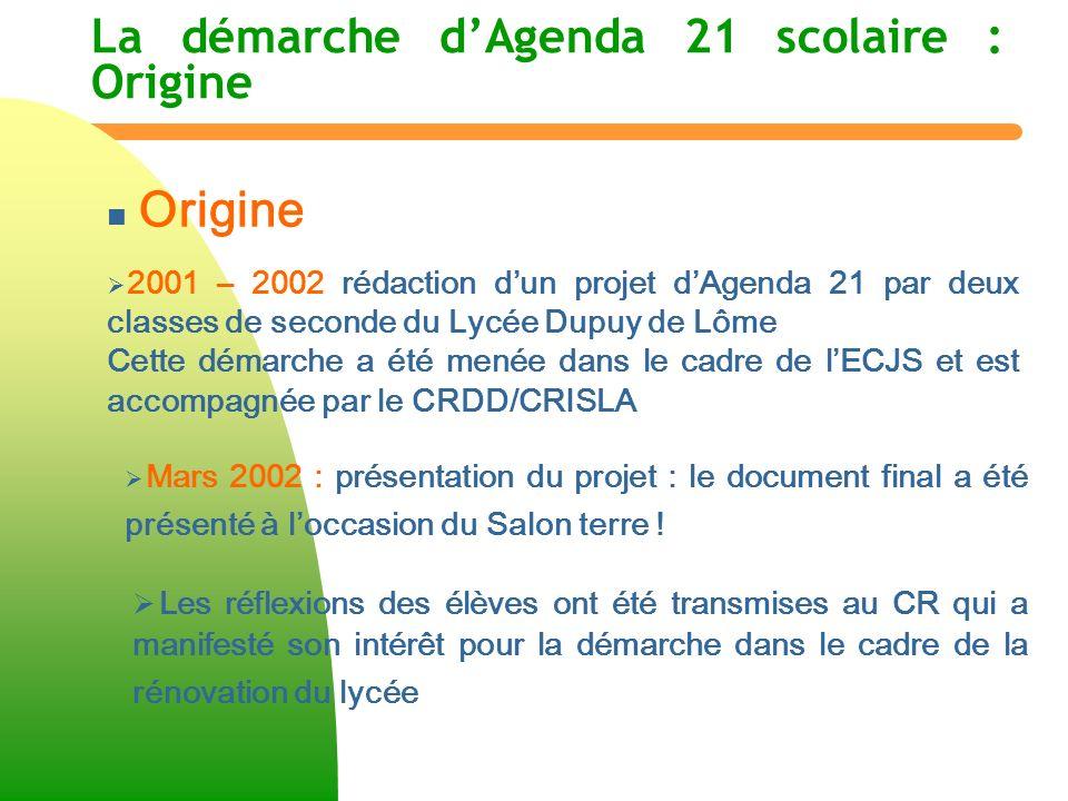 La démarche dAgenda 21 scolaire : Origine n n Objectif Le but pédagogique est de montrer comment la notion de Développement durable peut se traduire concrètement dans un espace aussi étendu que le Lycée Dupuy de Lôme (8,5 ha) et dans une communauté de 3.000 personnes.