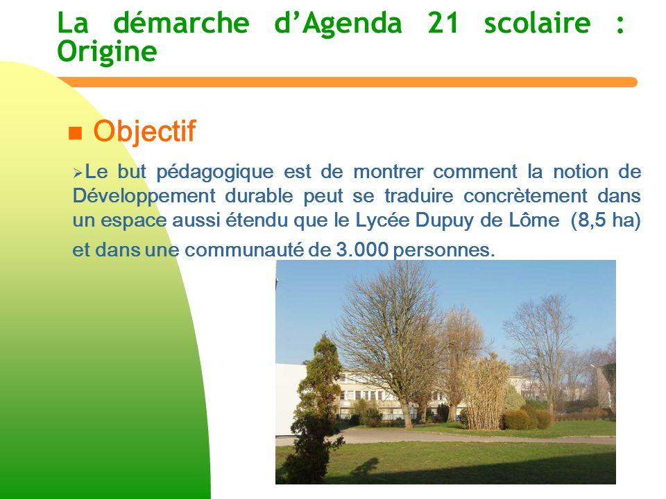 La démarche dAgenda 21 scolaire : Origine n n Objectif Le but pédagogique est de montrer comment la notion de Développement durable peut se traduire c