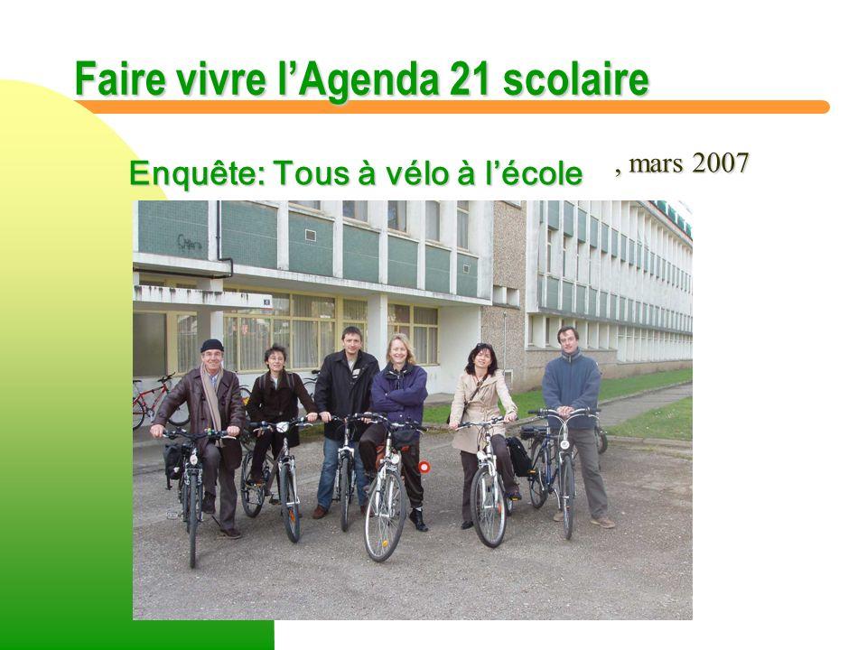 Faire vivre lAgenda 21 scolaire Inscription de la démarche dAgenda 21 dans le projet détablissement.