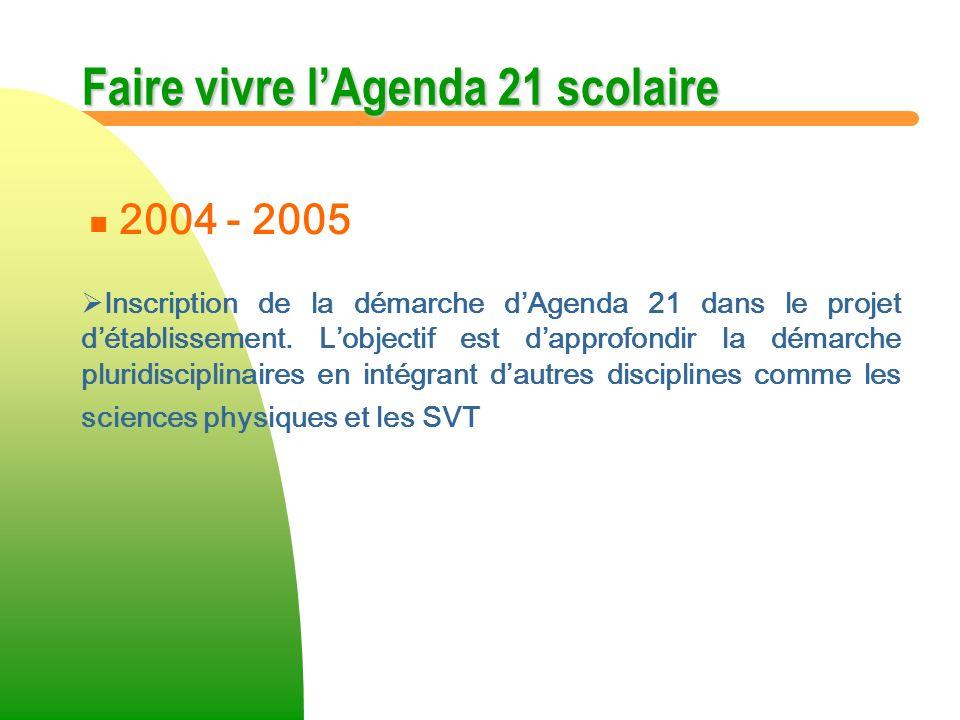 Faire vivre lAgenda 21 scolaire Inscription de la démarche dAgenda 21 dans le projet détablissement. Lobjectif est dapprofondir la démarche pluridisci