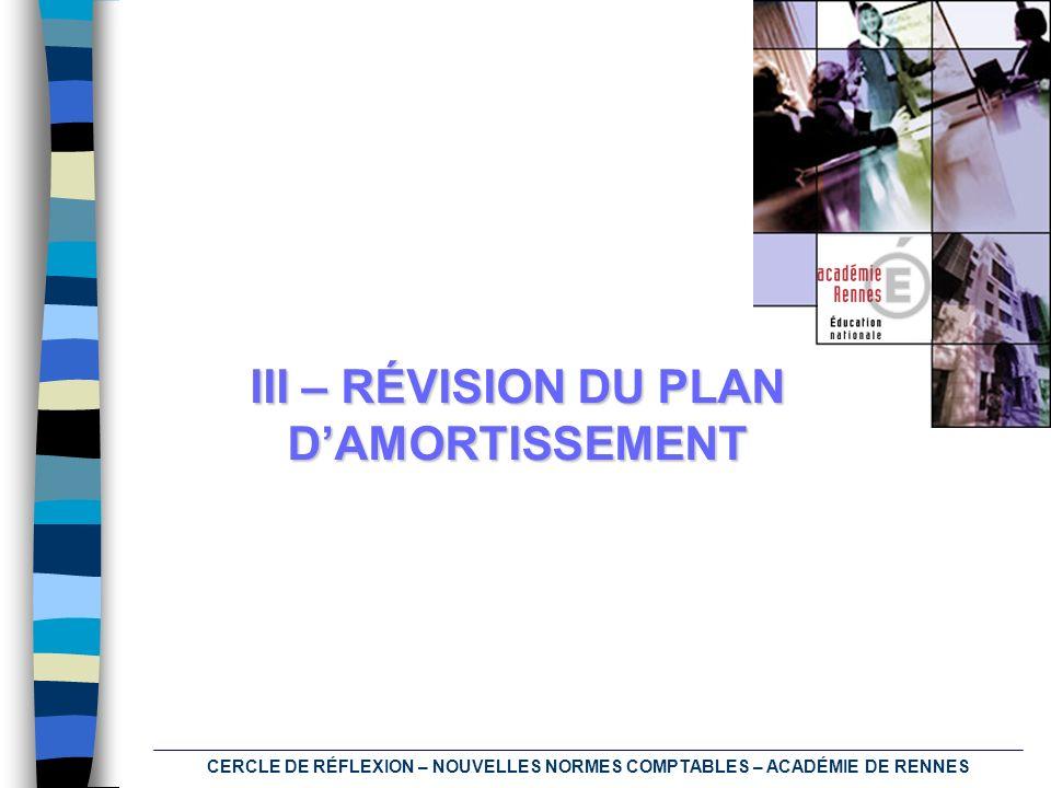 CERCLE DE RÉFLEXION – NOUVELLES NORMES COMPTABLES – ACADÉMIE DE RENNES III – RÉVISION DU PLAN DAMORTISSEMENT