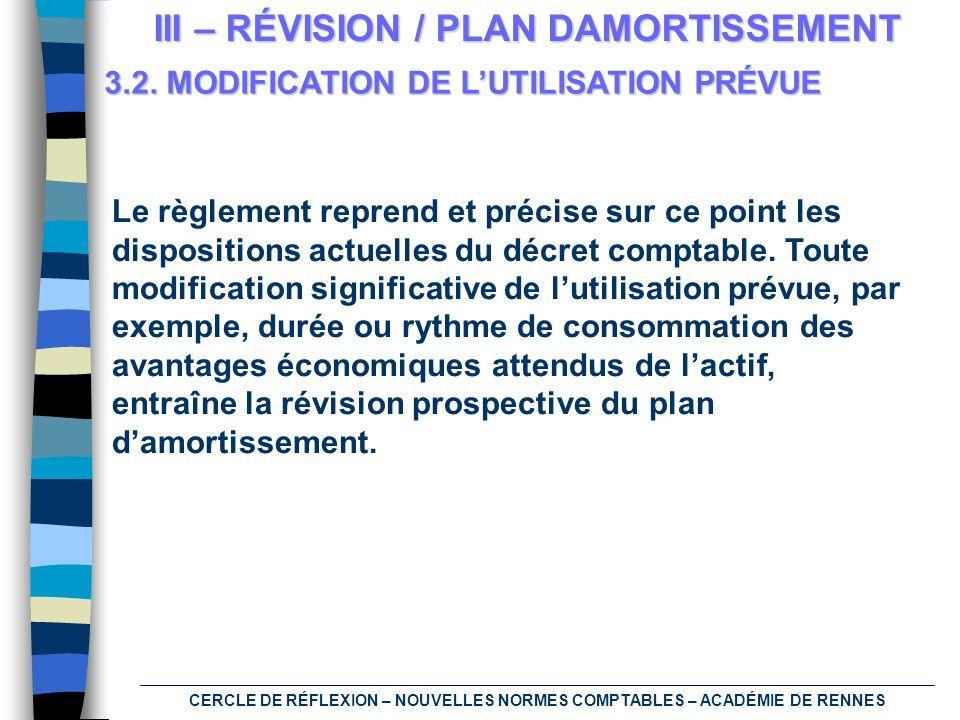 CERCLE DE RÉFLEXION – NOUVELLES NORMES COMPTABLES – ACADÉMIE DE RENNES III – RÉVISION / PLAN DAMORTISSEMENT 3.2. MODIFICATION DE LUTILISATION PRÉVUE L