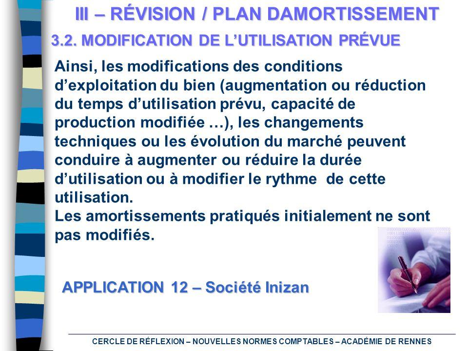 CERCLE DE RÉFLEXION – NOUVELLES NORMES COMPTABLES – ACADÉMIE DE RENNES III – RÉVISION / PLAN DAMORTISSEMENT 3.2. MODIFICATION DE LUTILISATION PRÉVUE A