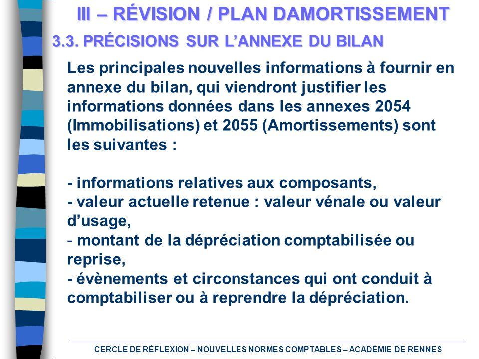 CERCLE DE RÉFLEXION – NOUVELLES NORMES COMPTABLES – ACADÉMIE DE RENNES III – RÉVISION / PLAN DAMORTISSEMENT 3.3. PRÉCISIONS SUR LANNEXE DU BILAN Les p