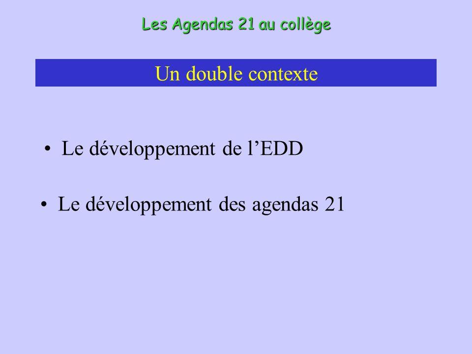 Un double contexte Le développement de lEDD Les Agendas 21 au collège Le développement des agendas 21