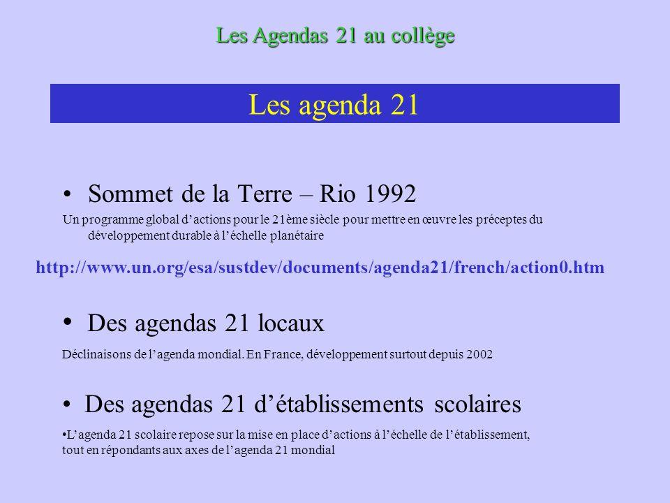 Les agenda 21 Sommet de la Terre – Rio 1992 Un programme global dactions pour le 21ème siècle pour mettre en œuvre les préceptes du développement durable à léchelle planétaire Les Agendas 21 au collège Des agendas 21 locaux Déclinaisons de lagenda mondial.