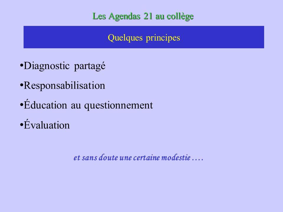 Les Agendas 21 au collège Diagnostic partagé Responsabilisation Éducation au questionnement Évaluation Quelques principes et sans doute une certaine modestie ….