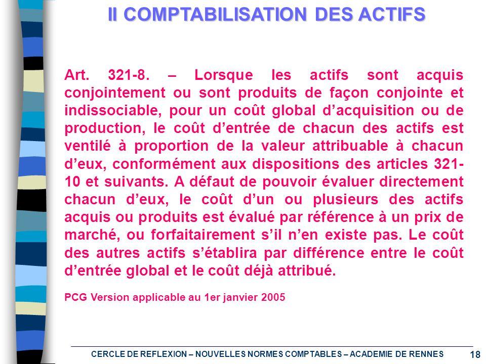 18 CERCLE DE REFLEXION – NOUVELLES NORMES COMPTABLES – ACADEMIE DE RENNES II COMPTABILISATION DES ACTIFS Art. 321-8. – Lorsque les actifs sont acquis