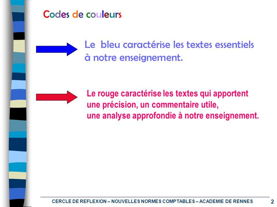 2 CERCLE DE REFLEXION – NOUVELLES NORMES COMPTABLES – ACADEMIE DE RENNES Codes de couleursCodes de couleurs Le bleu caractérise les textes essentiels