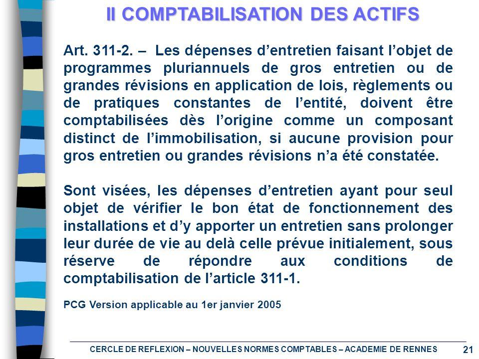 21 CERCLE DE REFLEXION – NOUVELLES NORMES COMPTABLES – ACADEMIE DE RENNES II COMPTABILISATION DES ACTIFS Art. 311-2. – Les dépenses dentretien faisant