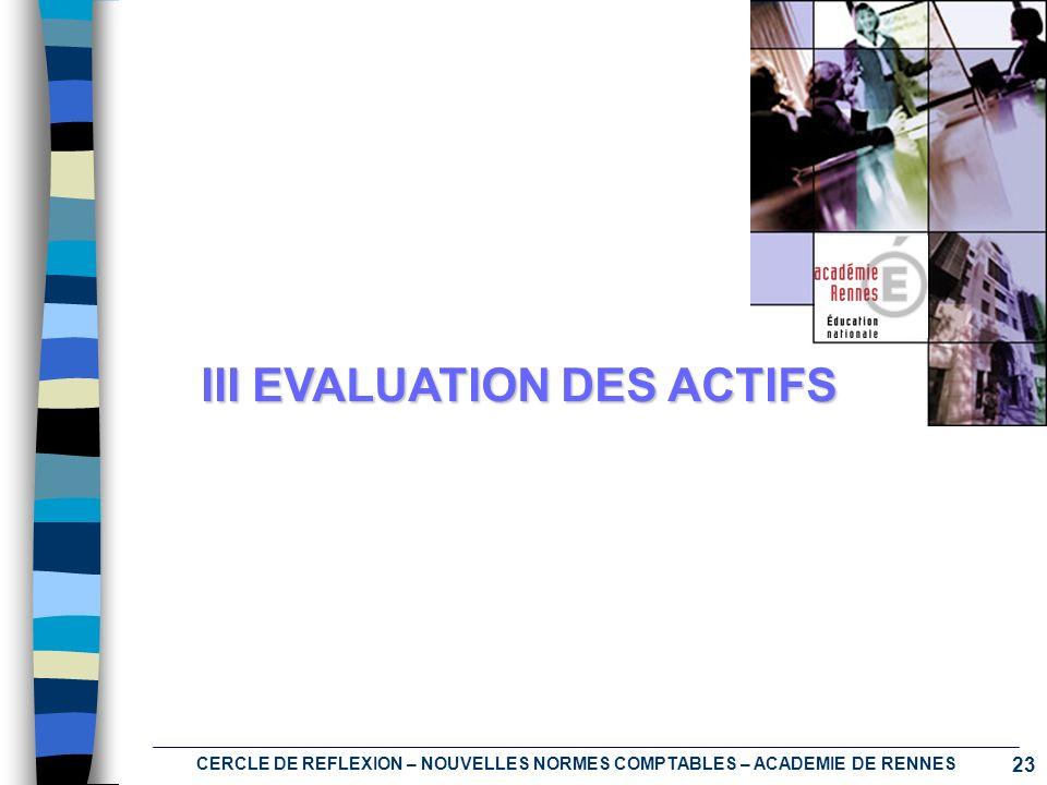 23 CERCLE DE REFLEXION – NOUVELLES NORMES COMPTABLES – ACADEMIE DE RENNES III EVALUATION DES ACTIFS