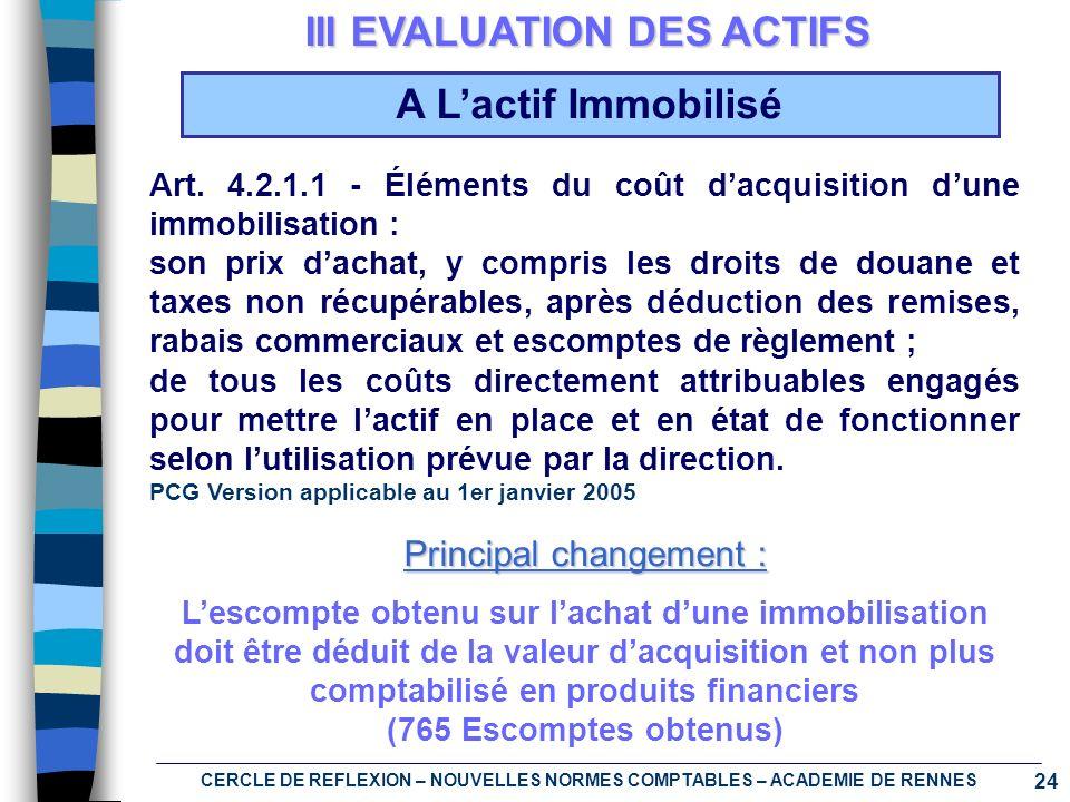 24 CERCLE DE REFLEXION – NOUVELLES NORMES COMPTABLES – ACADEMIE DE RENNES III EVALUATION DES ACTIFS Art. 4.2.1.1 - Éléments du coût dacquisition dune