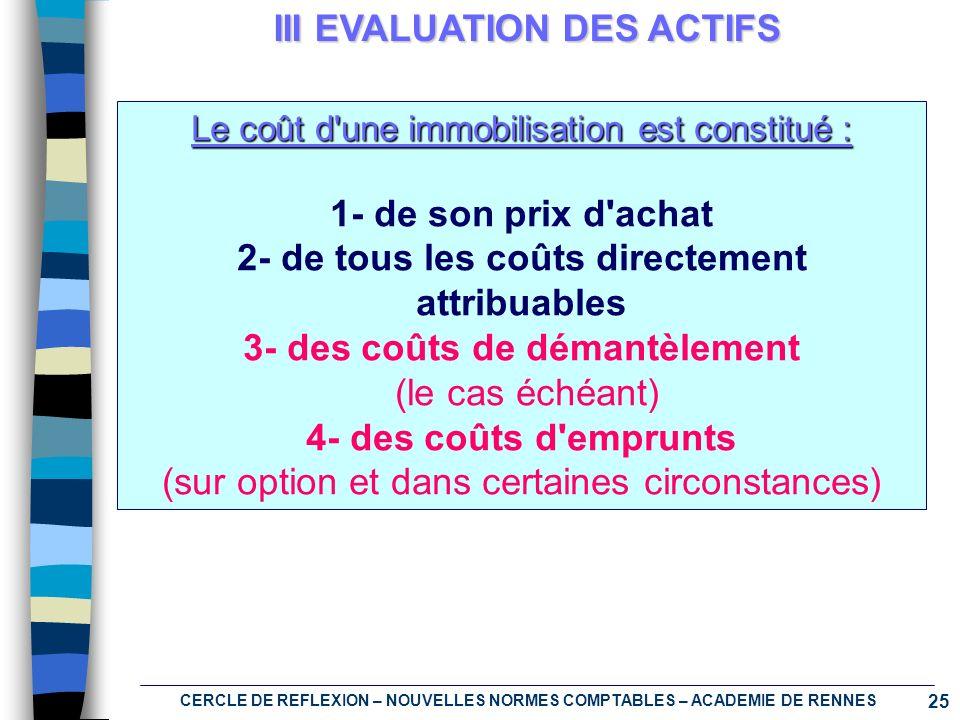 25 CERCLE DE REFLEXION – NOUVELLES NORMES COMPTABLES – ACADEMIE DE RENNES III EVALUATION DES ACTIFS Le coût d'une immobilisation est constitué : 1- de