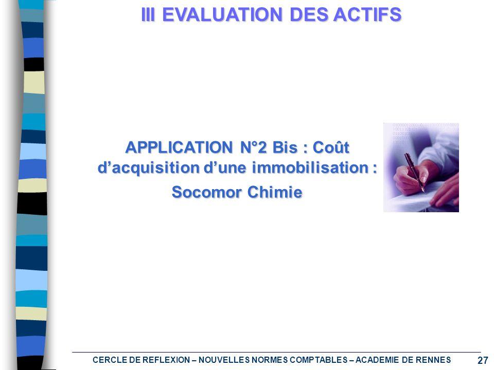 27 CERCLE DE REFLEXION – NOUVELLES NORMES COMPTABLES – ACADEMIE DE RENNES III EVALUATION DES ACTIFS APPLICATION N°2 Bis : Coût dacquisition dune immob