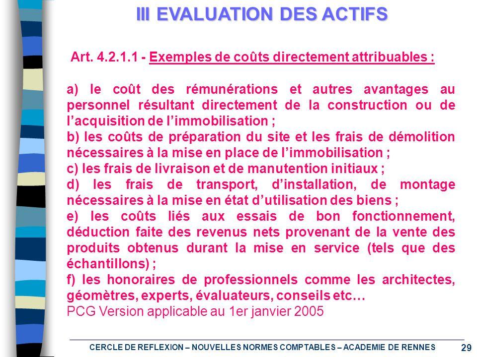 29 CERCLE DE REFLEXION – NOUVELLES NORMES COMPTABLES – ACADEMIE DE RENNES III EVALUATION DES ACTIFS Art. 4.2.1.1 - Exemples de coûts directement attri