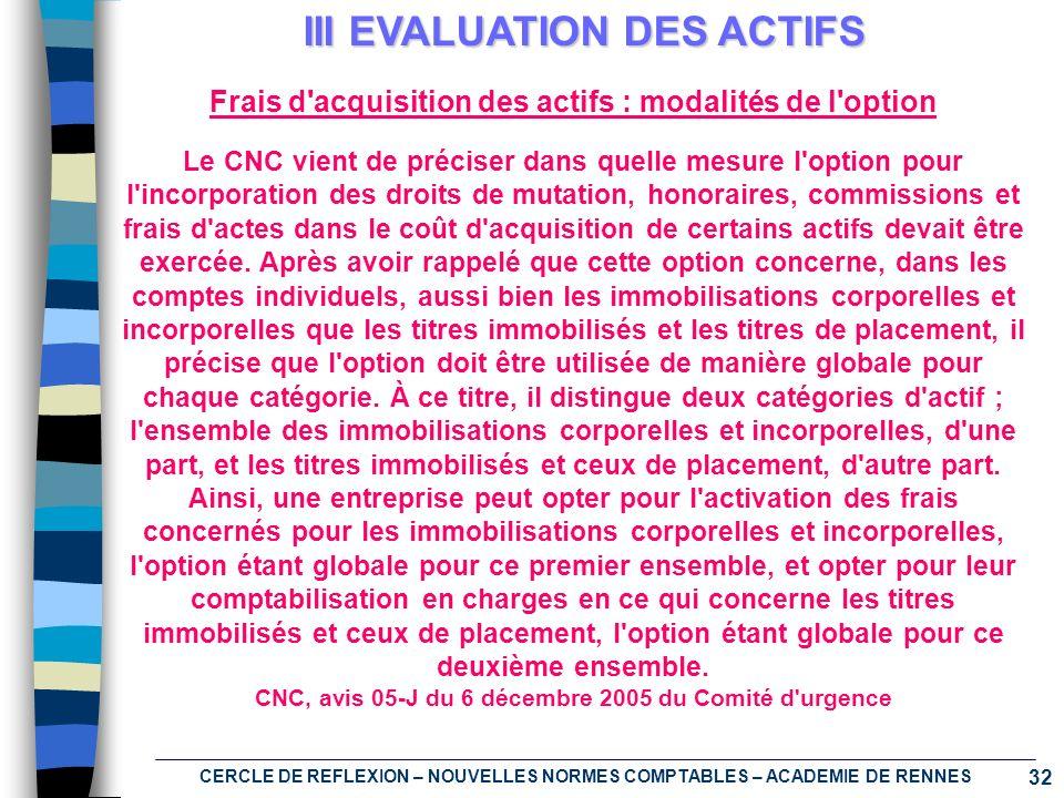 32 CERCLE DE REFLEXION – NOUVELLES NORMES COMPTABLES – ACADEMIE DE RENNES III EVALUATION DES ACTIFS Frais d'acquisition des actifs : modalités de l'op