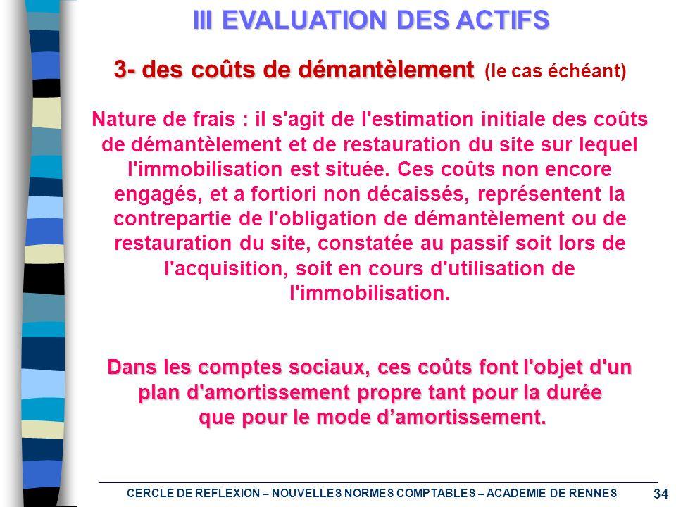 34 CERCLE DE REFLEXION – NOUVELLES NORMES COMPTABLES – ACADEMIE DE RENNES III EVALUATION DES ACTIFS 3- des coûts de démantèlement (le cas échéant) Nat