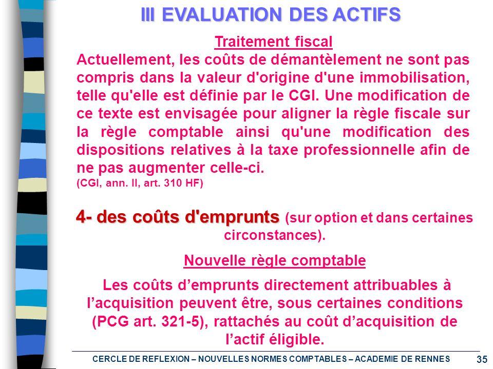 35 CERCLE DE REFLEXION – NOUVELLES NORMES COMPTABLES – ACADEMIE DE RENNES III EVALUATION DES ACTIFS 4- des coûts d'emprunts (sur option et dans certai