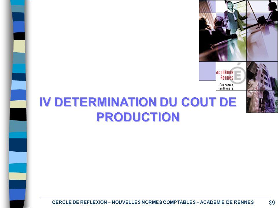 39 CERCLE DE REFLEXION – NOUVELLES NORMES COMPTABLES – ACADEMIE DE RENNES IV DETERMINATION DU COUT DE PRODUCTION