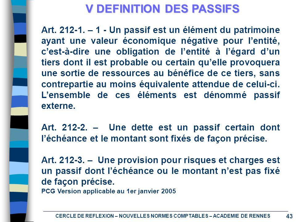 43 CERCLE DE REFLEXION – NOUVELLES NORMES COMPTABLES – ACADEMIE DE RENNES V DEFINITION DES PASSIFS Art. 212-1. – 1 - Un passif est un élément du patri